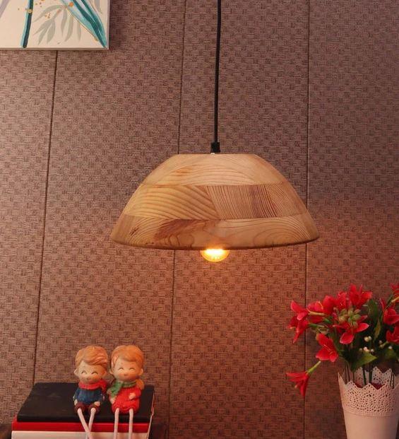 Aera Natural Wood Single Hanging Light