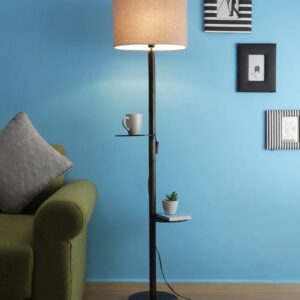 Beige Fabric Shade Floor Lamp with Walnut Base