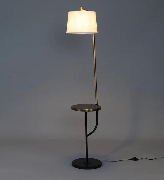Beige Shade Floor Lamp with Metal Base