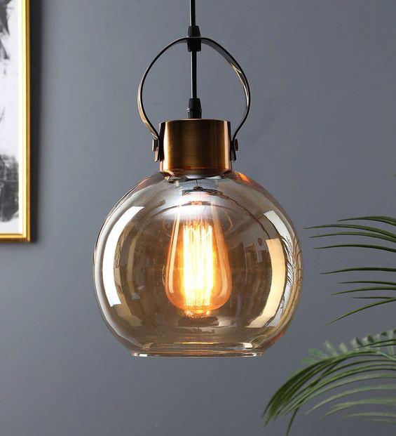 Bermejo Gold Glass Single Hanging Light