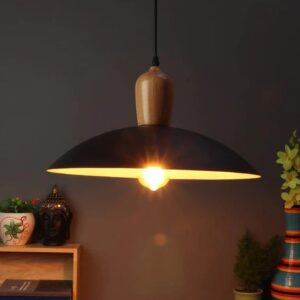 Black & White Aluminum Single Hanging Light
