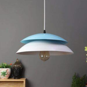 Blue & White Aluminum Single Hanging Light