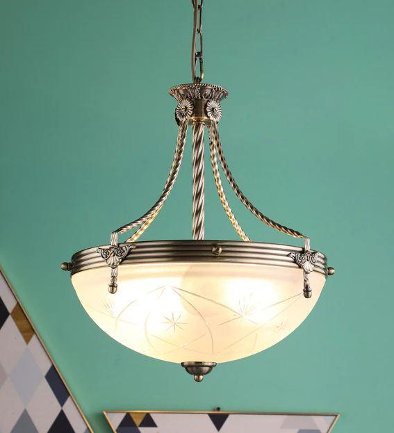 Brass Metal Glass Chandelier