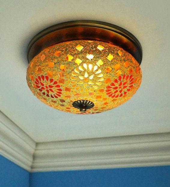 Brown Brass & Glass Flush Mounted Light
