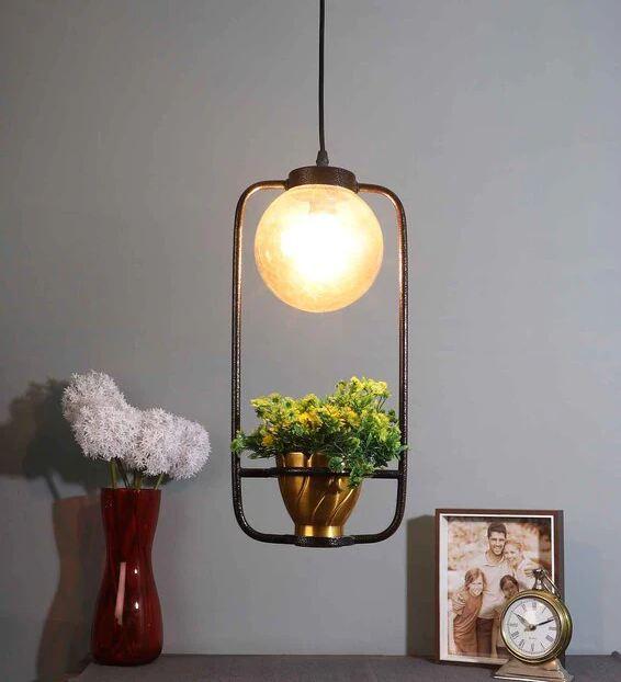 Gold Glass Single Hanging Light