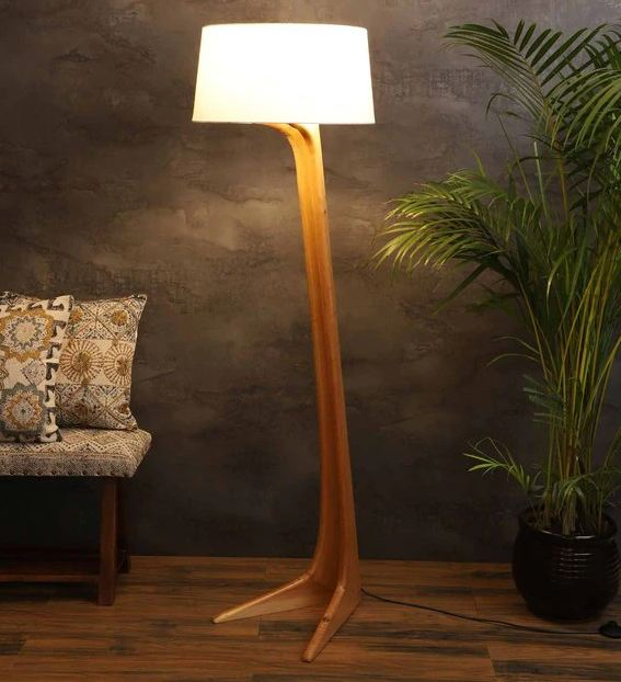 Leaning Man Off-White Khadi Shade Floor Lamp with Natural Wood Base