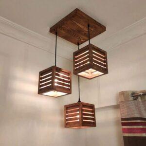Lyon Beige Solid Wood 3 Cluster Hanging Lights