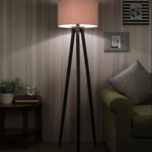 Modern in Solid Wood Beige Fabric Shade Tripod Floor Lamp with Walnut Base