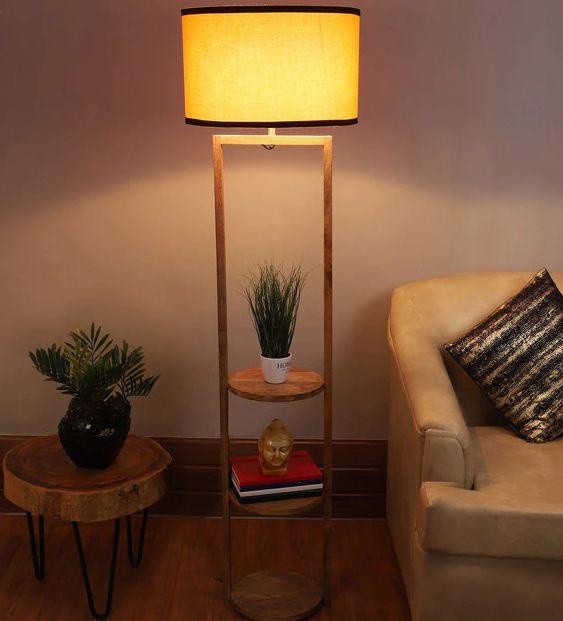 Orange Fabric Shade Floor Lamp with Natural Base