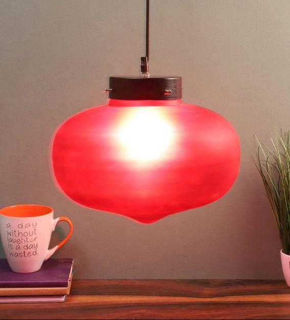 Red Glass Single Hanging Light