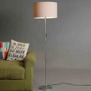 Silver Color Metal Floor Lamp With Beige Round Shade