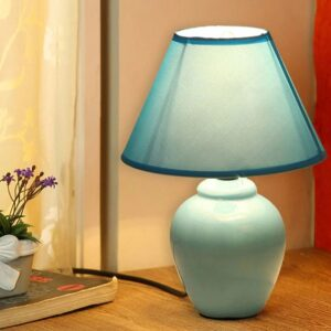 Sky Blue Fabric Shade Table Lamp with Blue Base