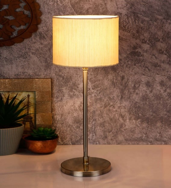 White Cotton Shade Country Table Lamp With Steel Base