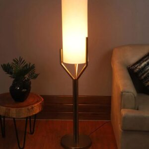 White Fabric Shade Floor Lamp with Brass Base