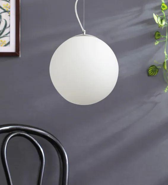 White Glass Single Hanging Light