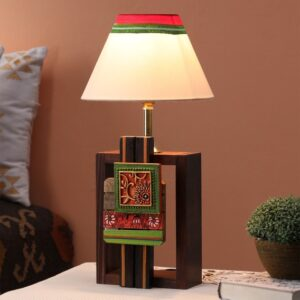 White Fabric Shade Table Lamp with Brown Base