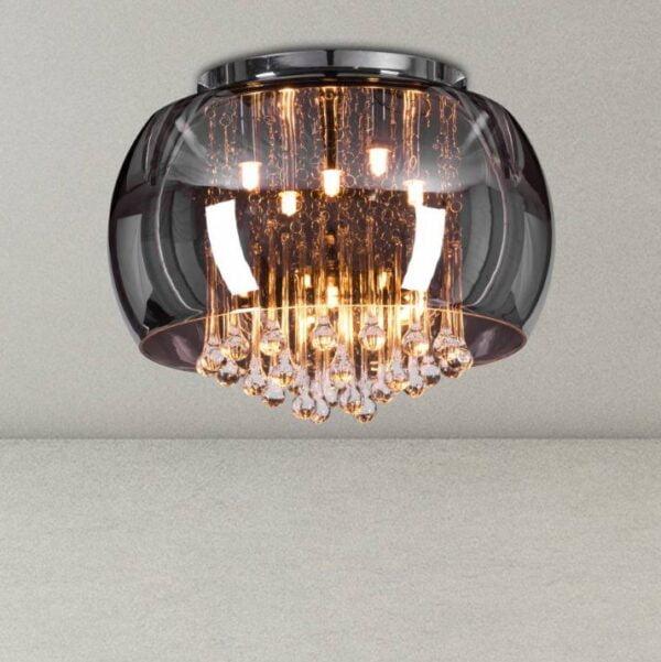Enamoured Smokey Grey Crystal Ceiling Chandelier