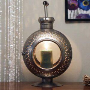 Grey Metal Shade Table Lanterns with Grey Base