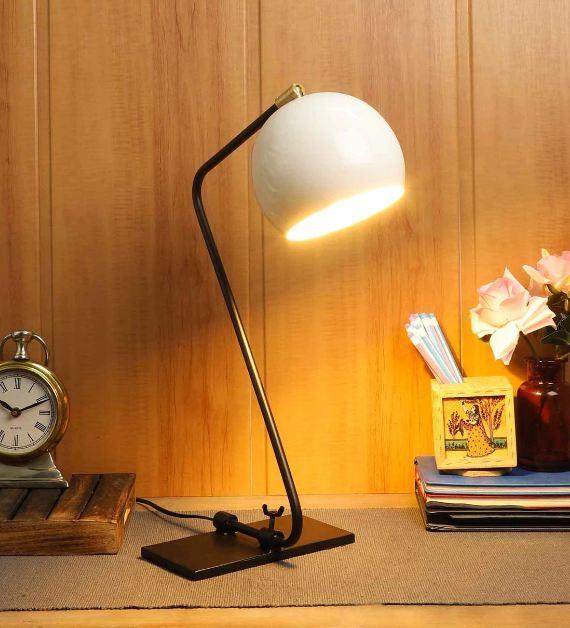 Lense Adjustable Black Iron Shade Study Lamp with Black Base